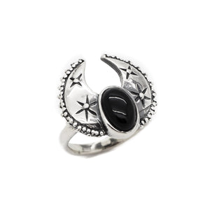 Sterling Silver & Black Onyx Harvest Moon Ring