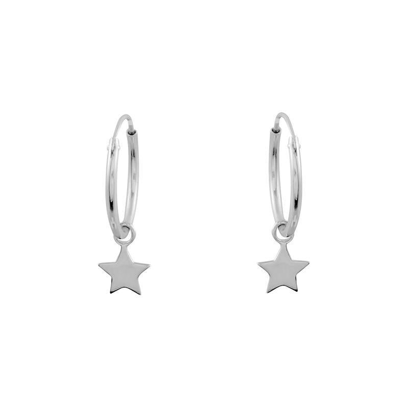 Sterling Silver Star Light Hoops