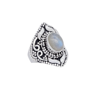 Sterling Silver & Rainbow Moonstone Spirit Ring