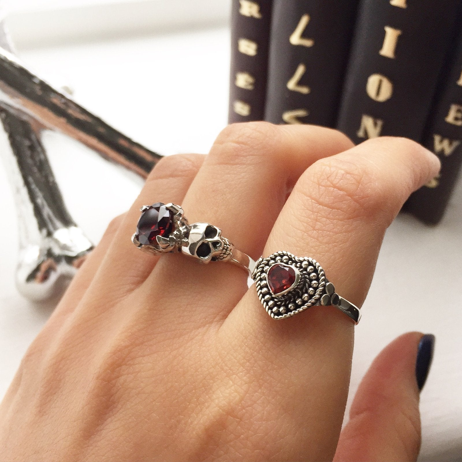Sterling Silver & Garnet 'Till Death' Ring