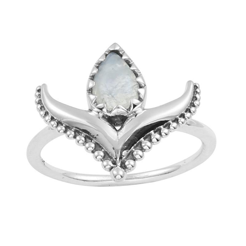 Sterling Silver & Rainbow Moonstone Nomadic Ring
