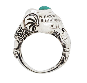 Sterling Silver & Turquoise Sacred Elephant Ring