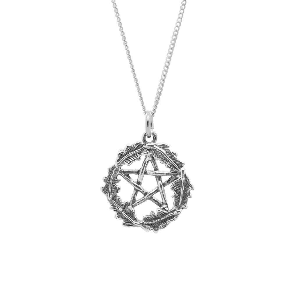 Sterling Silver Oak Leaf Pentacle Necklace