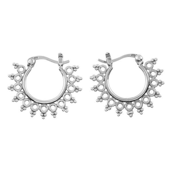 Sterling Silver Tribal Sun Hoops