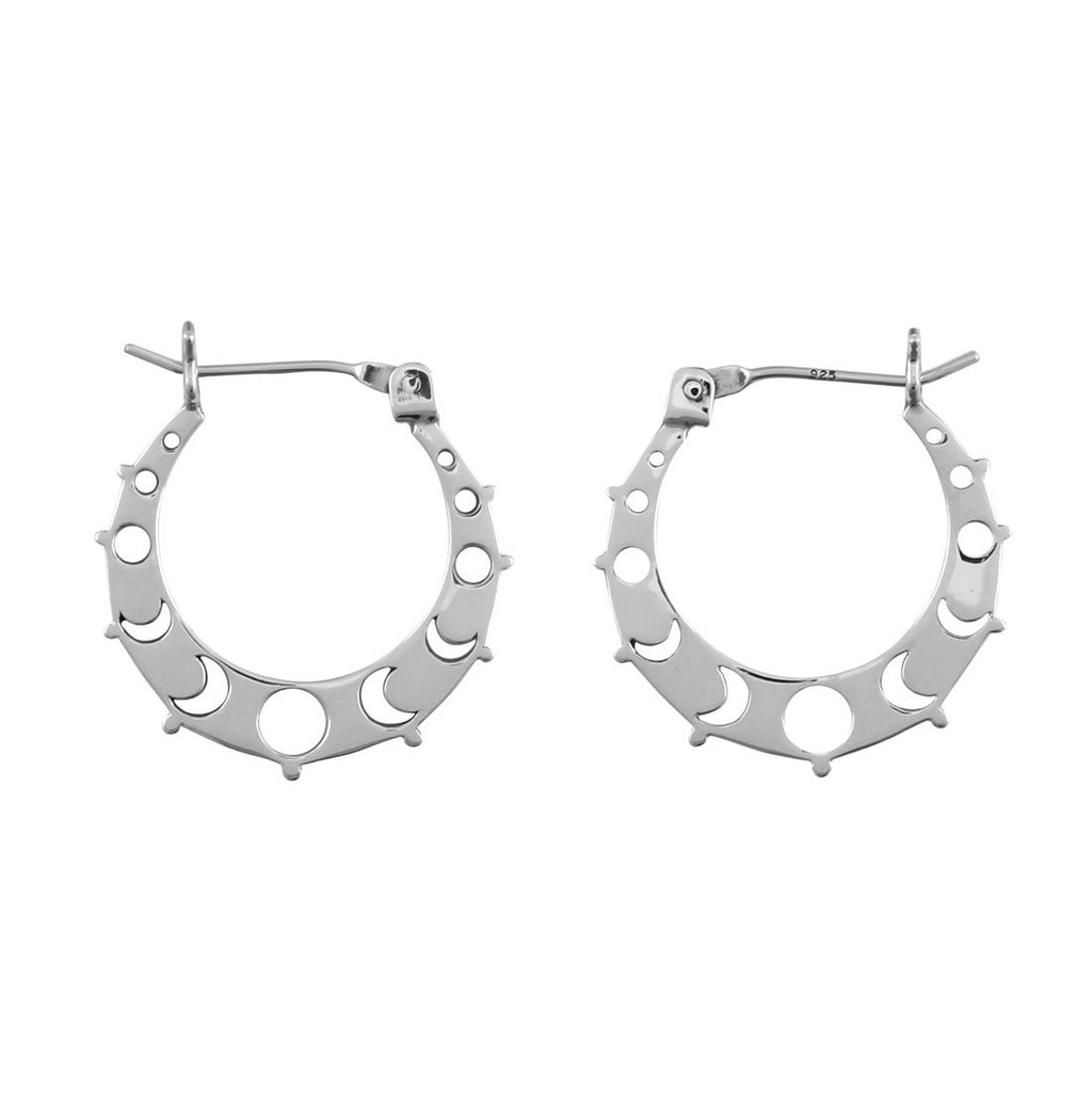 Sterling Silver All The Phases Hoops