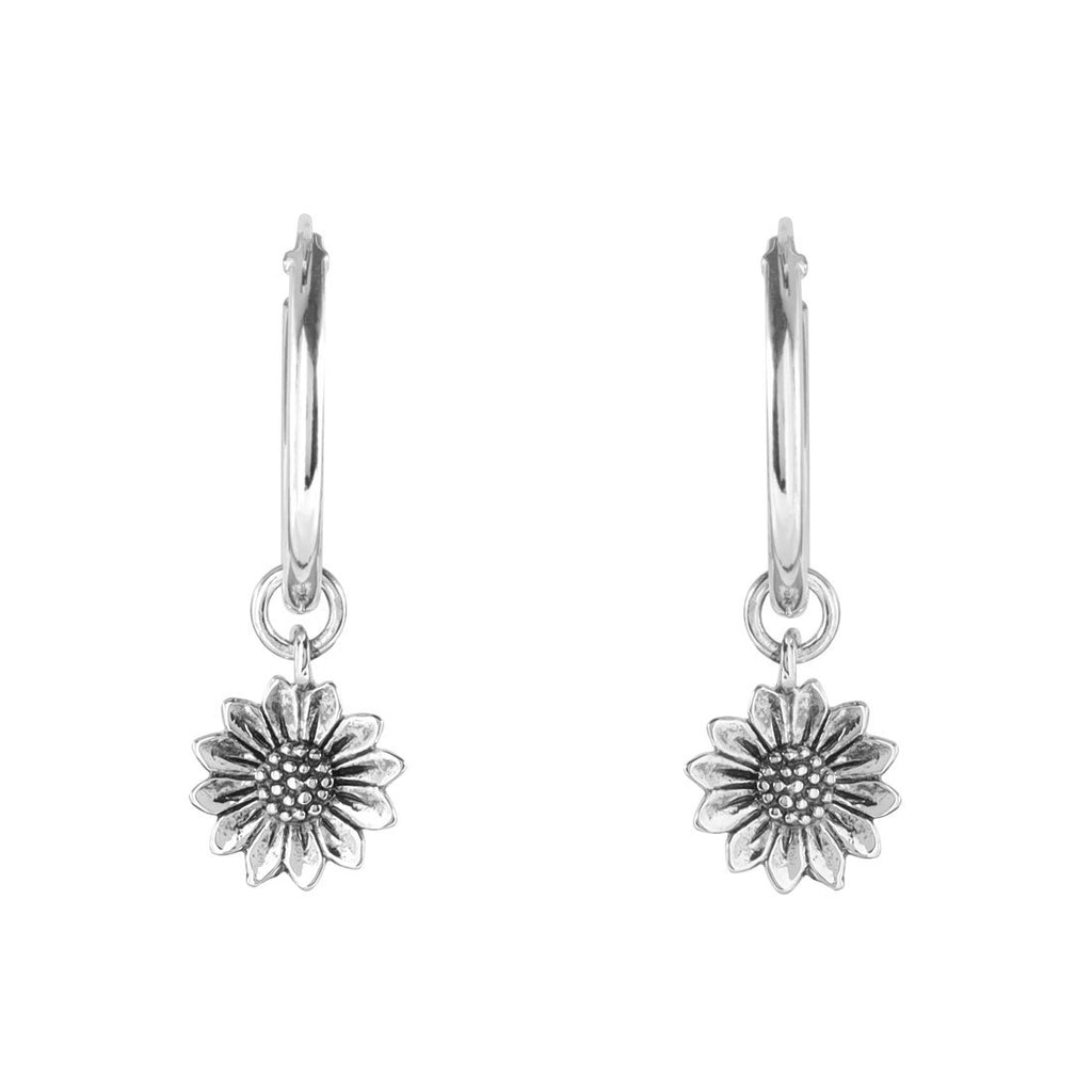 Sterling Silver Delicate Sunflower Sleepers