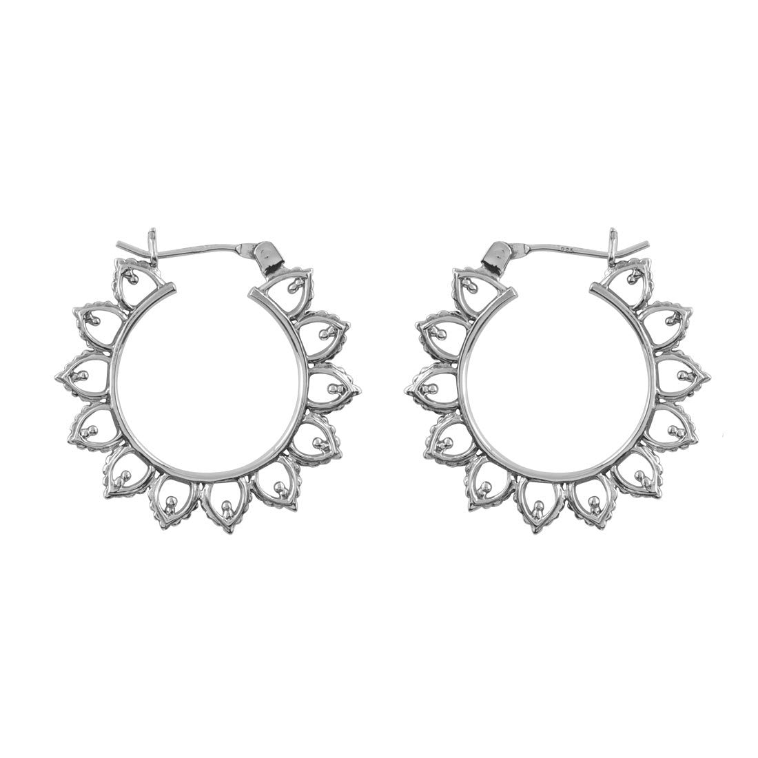Sterling Silver Sun Halo Hoops