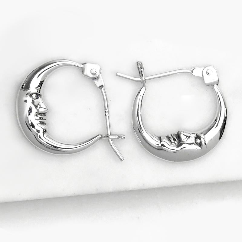 Sterling Silver Sleepy Moon Sleepers