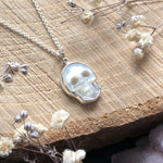 Sterling Silver Mother Of Pearl Skull Necklace
