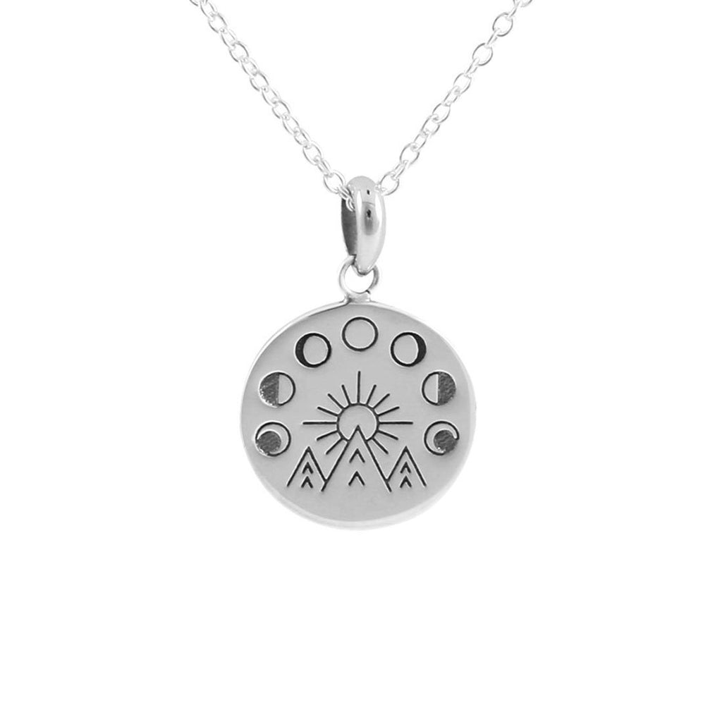 Sterling Silver Moon And The Mountains Medallion Necklace