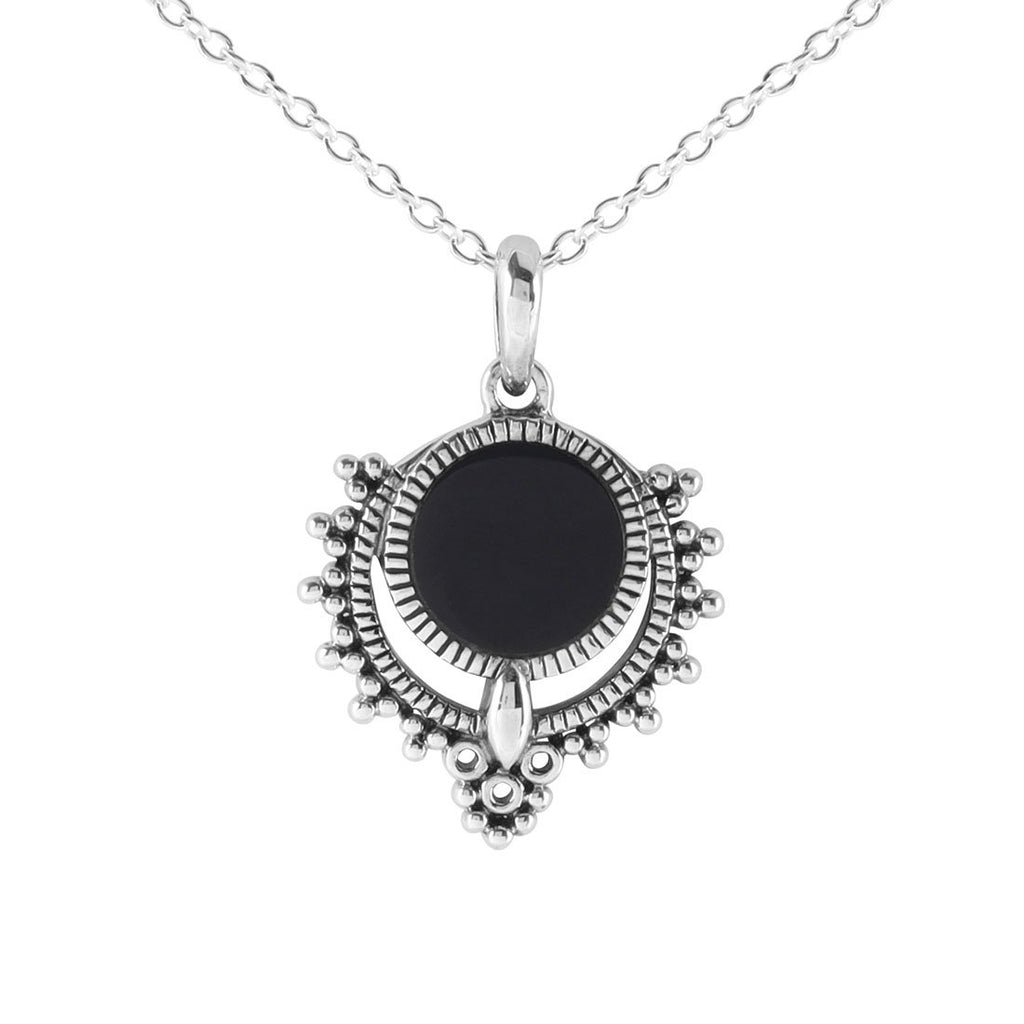 Sterling Silver Periyar Onyx Inlay Necklace