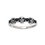 Sterling Silver Black Onyx Skull Lover Ring