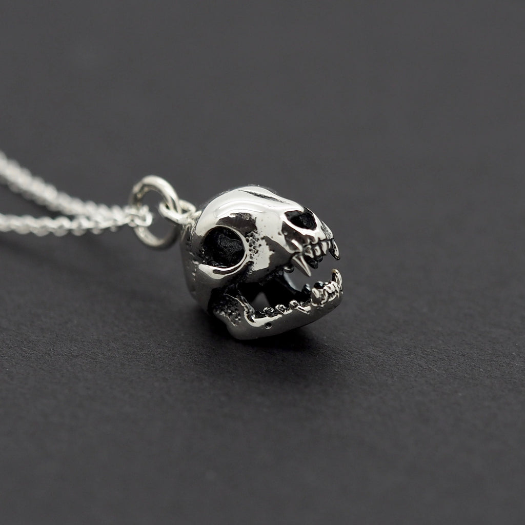 Sterling Silver Cat Skull Necklace