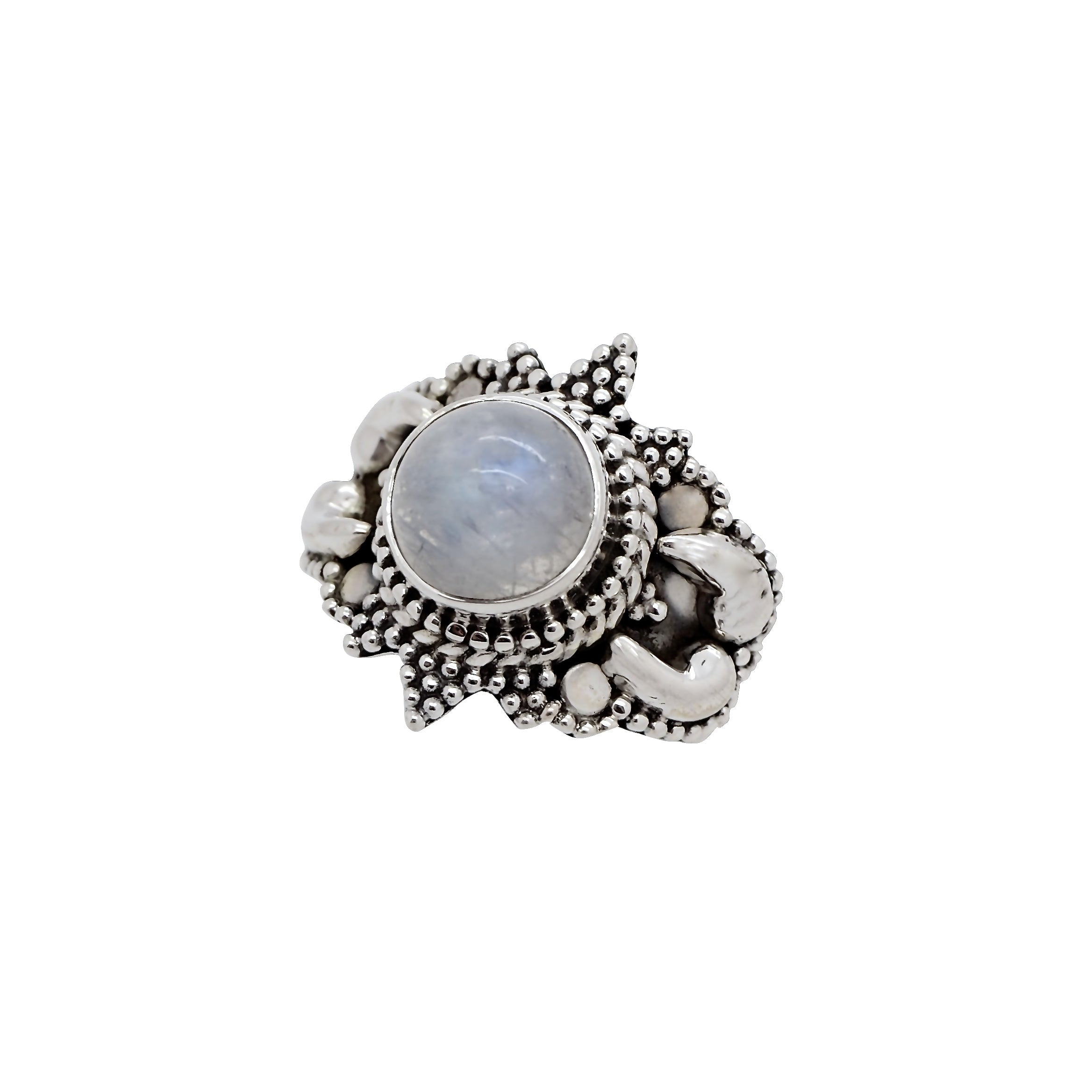 Sterling Silver & Rainbow Moonstone Sun Dance Ring