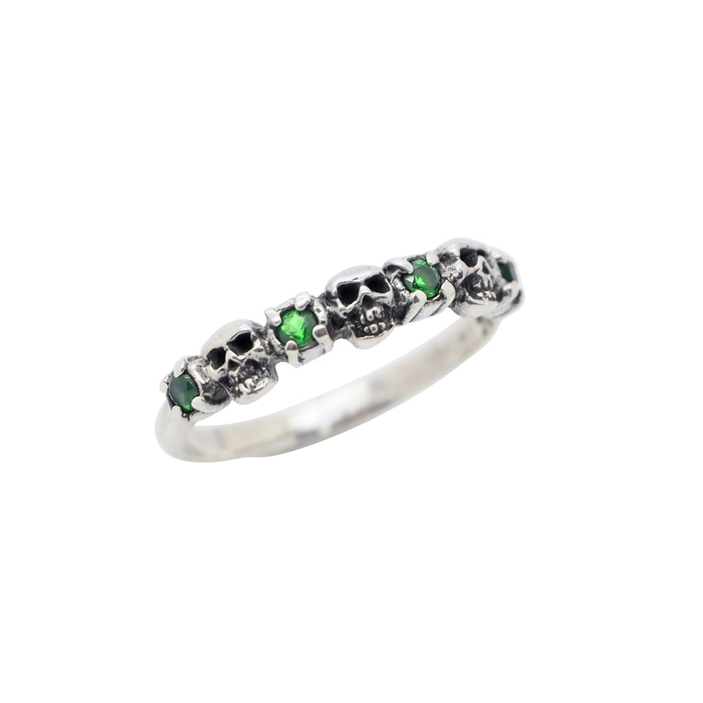 Sterling Silver Emerald Skull Lover Ring