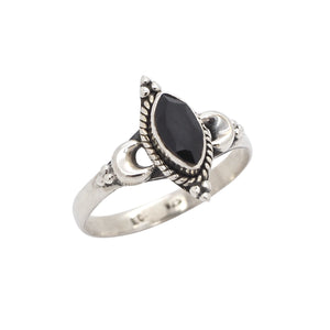 Sterling Silver & Black Onyx New Moon Ring