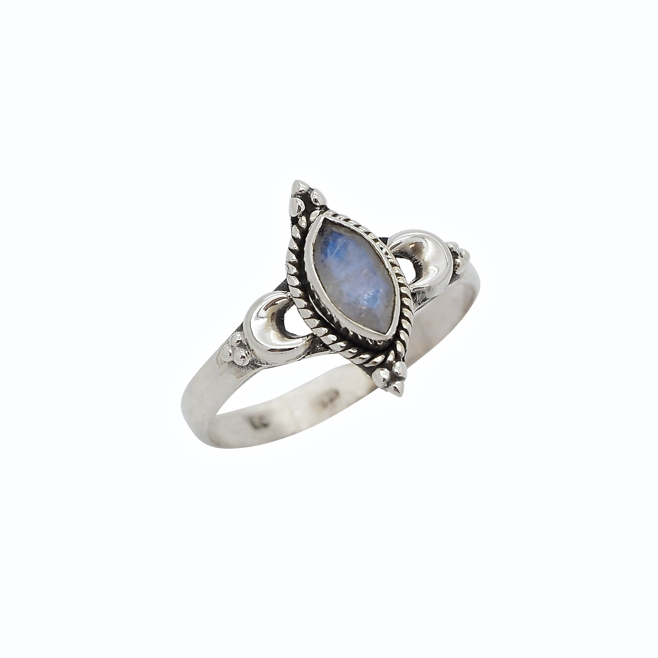 Sterling Silver & Rainbow Moonstone New Moon Ring