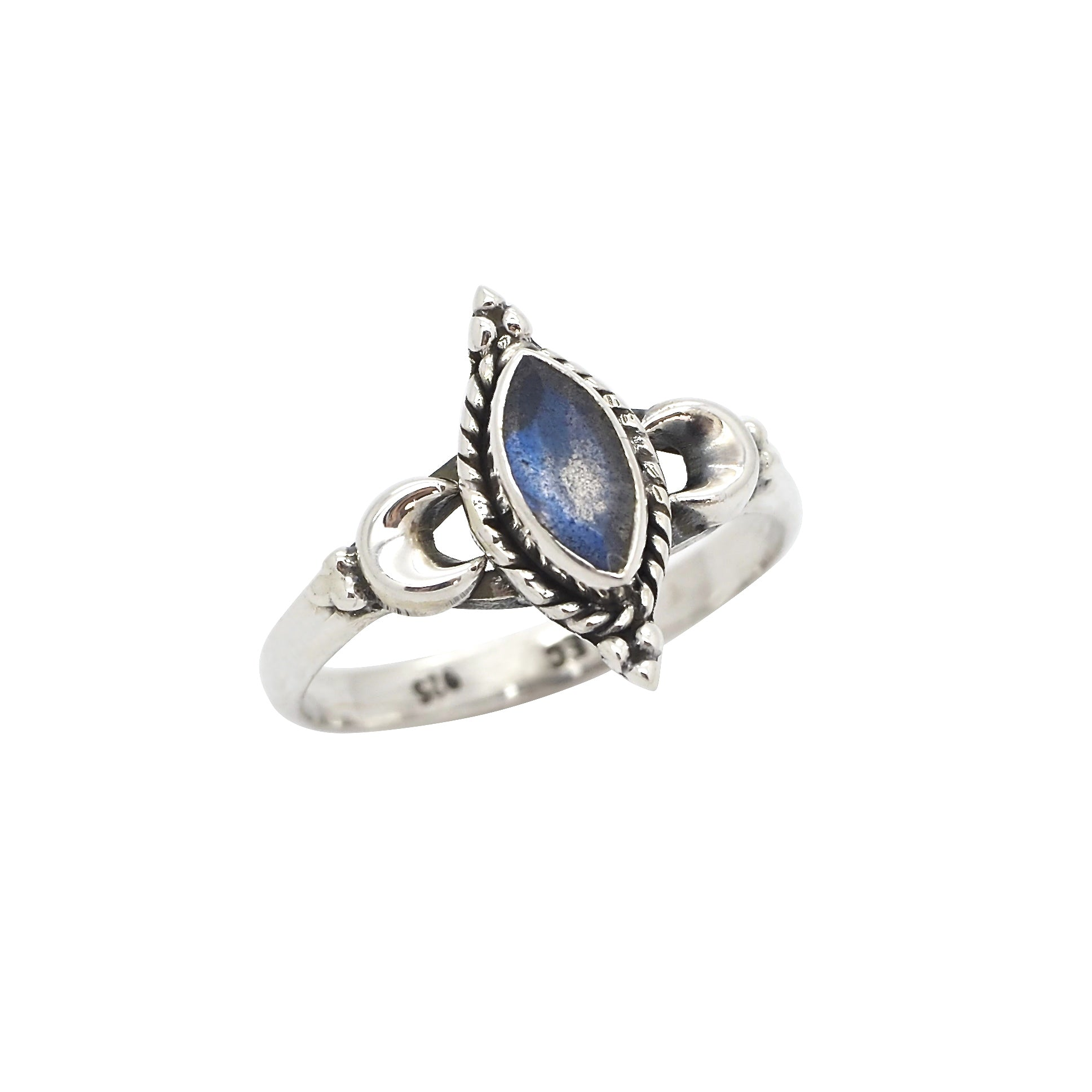 Sterling Silver & Labradorite New Moon Ring