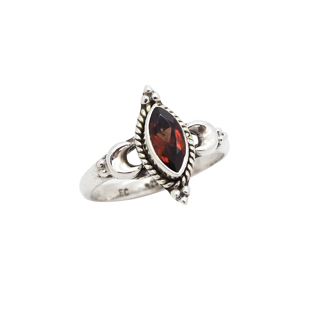 Sterling Silver & Garnet New Moon Ring
