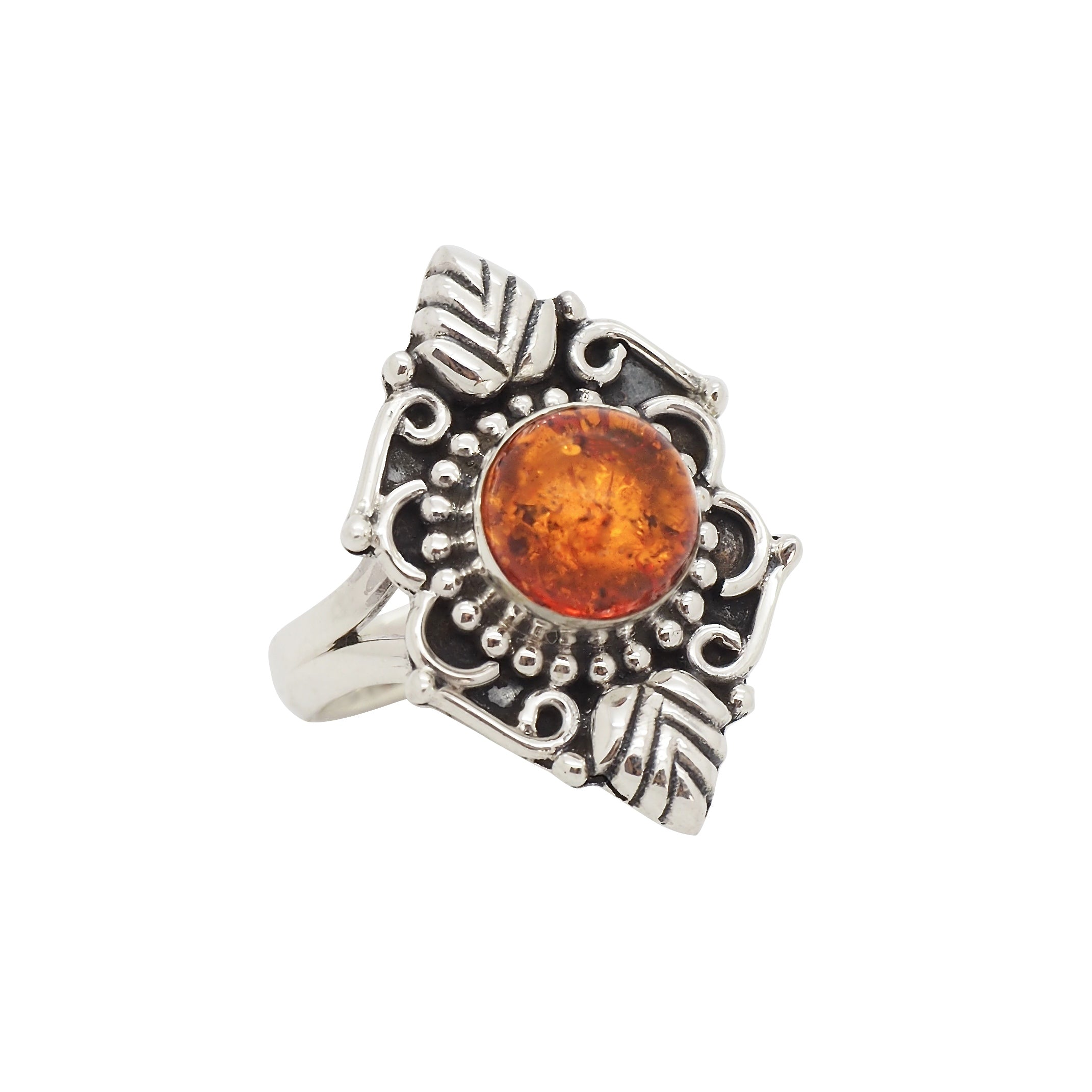Sterling Silver & Amber Forest Witch Ring