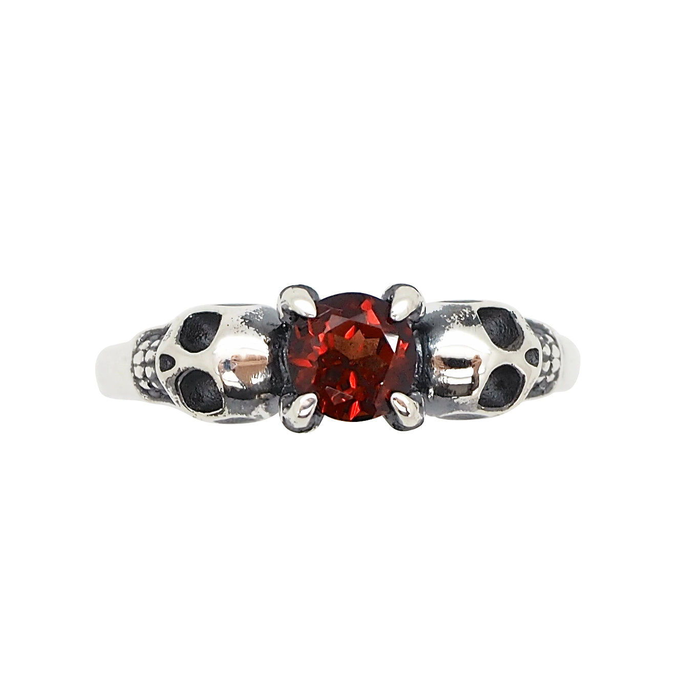 Sterling Silver & Garnet Till Death Ring Petite