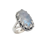 Sterling Silver & Rainbow Moonstone Winter Solstice Ring