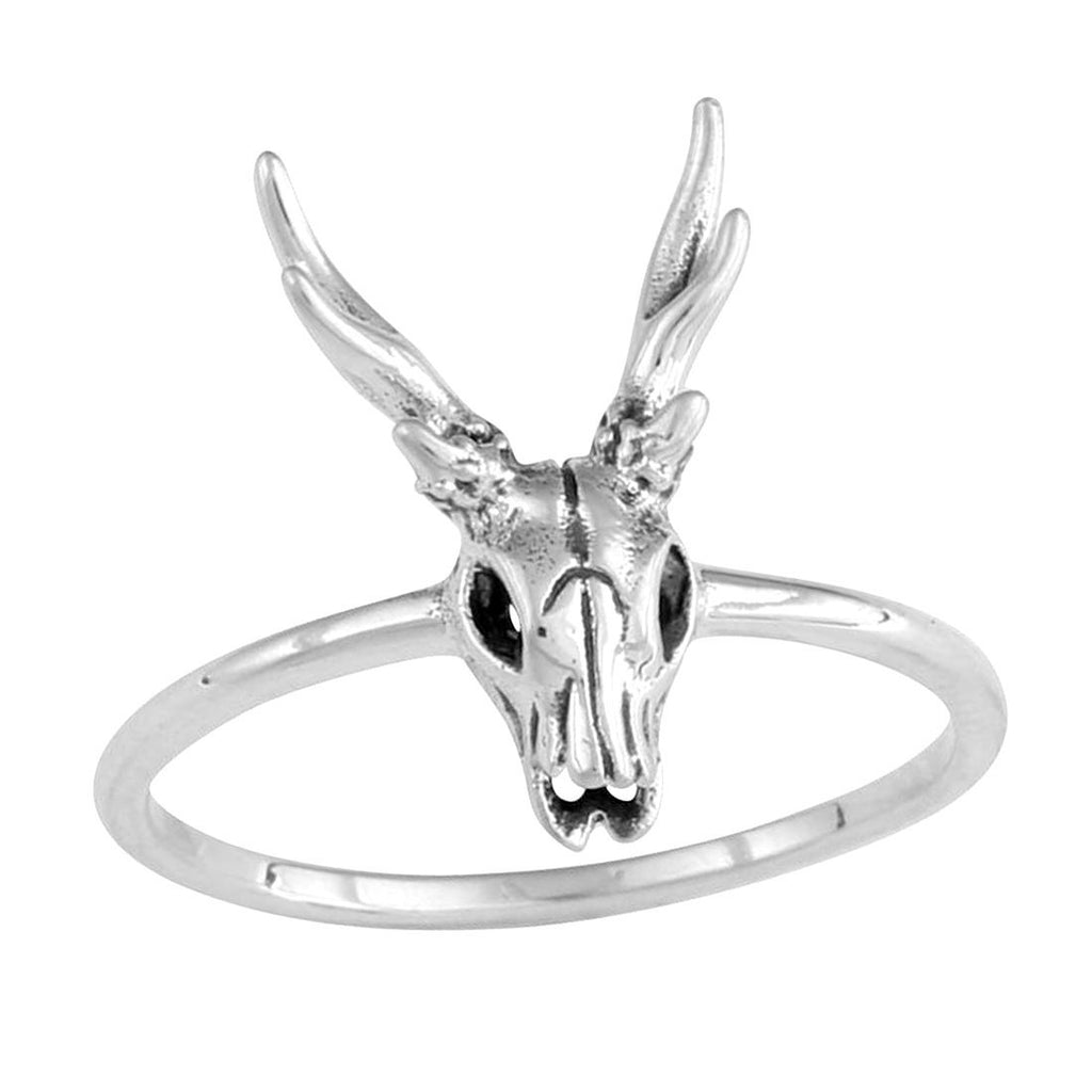 Sterling Silver Deer Skull Ring