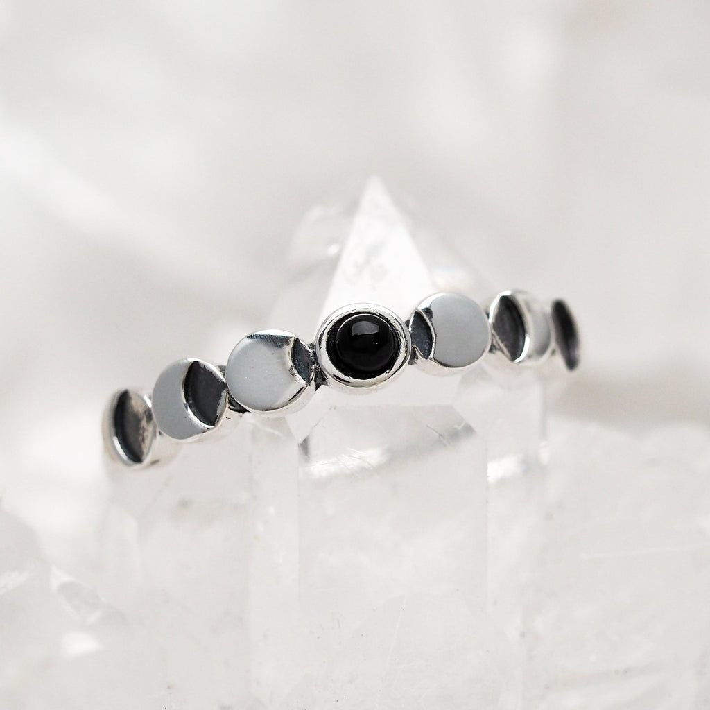 Sterling Silver Lunar Phases Onyx Ring