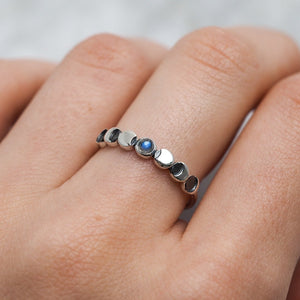 Sterling Silver Lunar Phases Rainbow Moonstone Ring