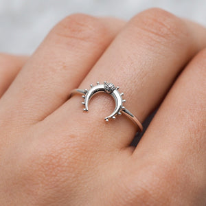 Sterling Silver Moon Flower Ring