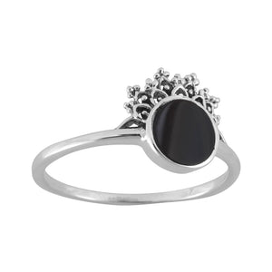 Sterling Silver Halley's Comet Onyx Ring