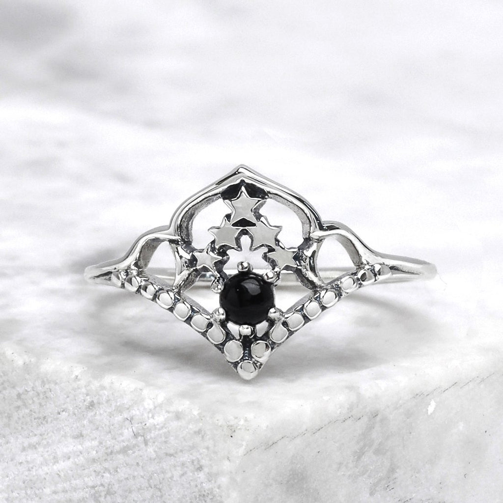 Sterling Silver Space Cluster Onyx Ring