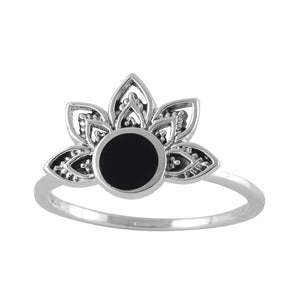 Sterling Silver Venus Rising Onyx Ring