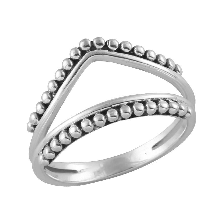 Sterling Silver Beaded Double Band Ring