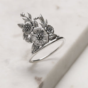 Sterling Silver Hibiscus Dreams Ring