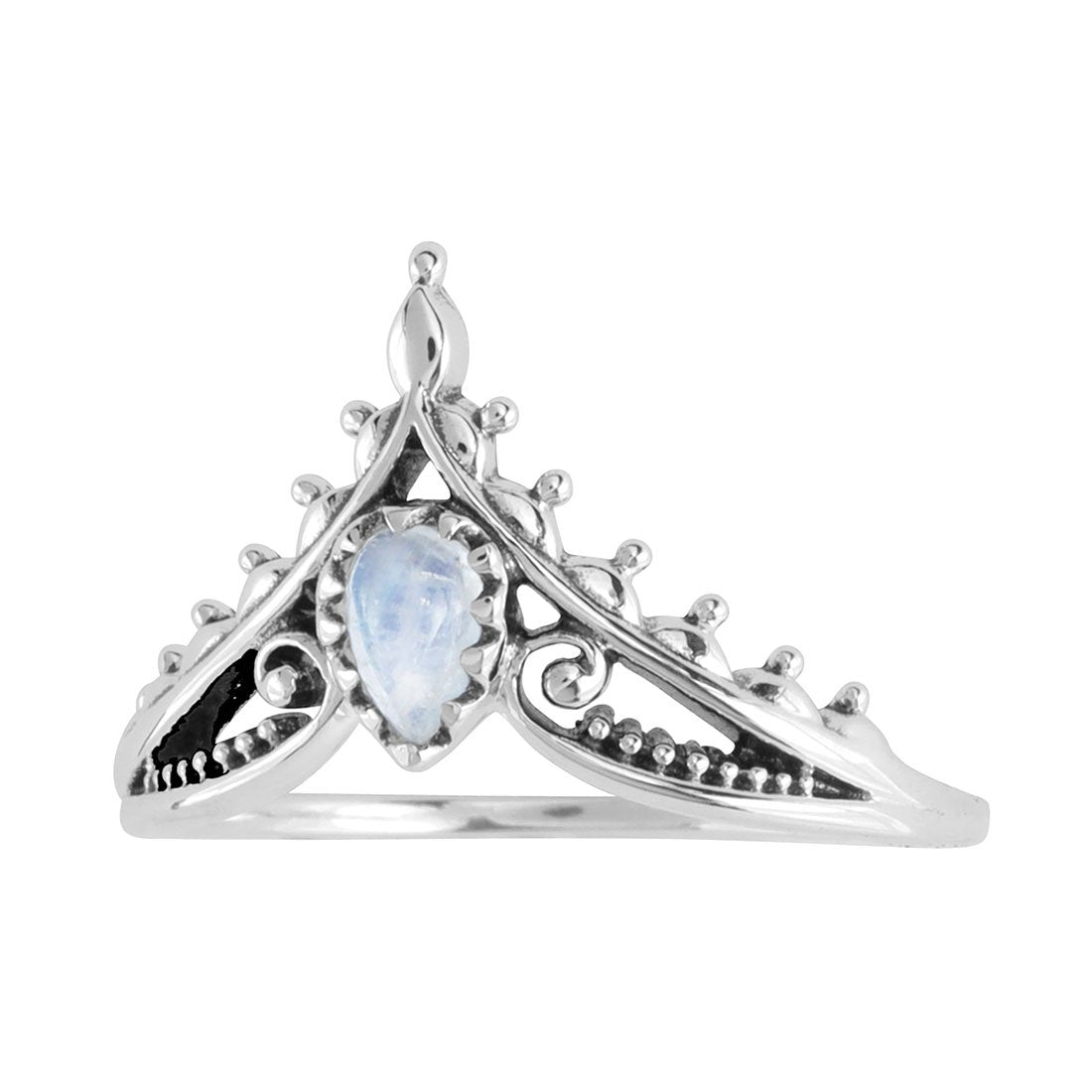 Sterling Silver Microcosm Rainbow Moonstone Ring