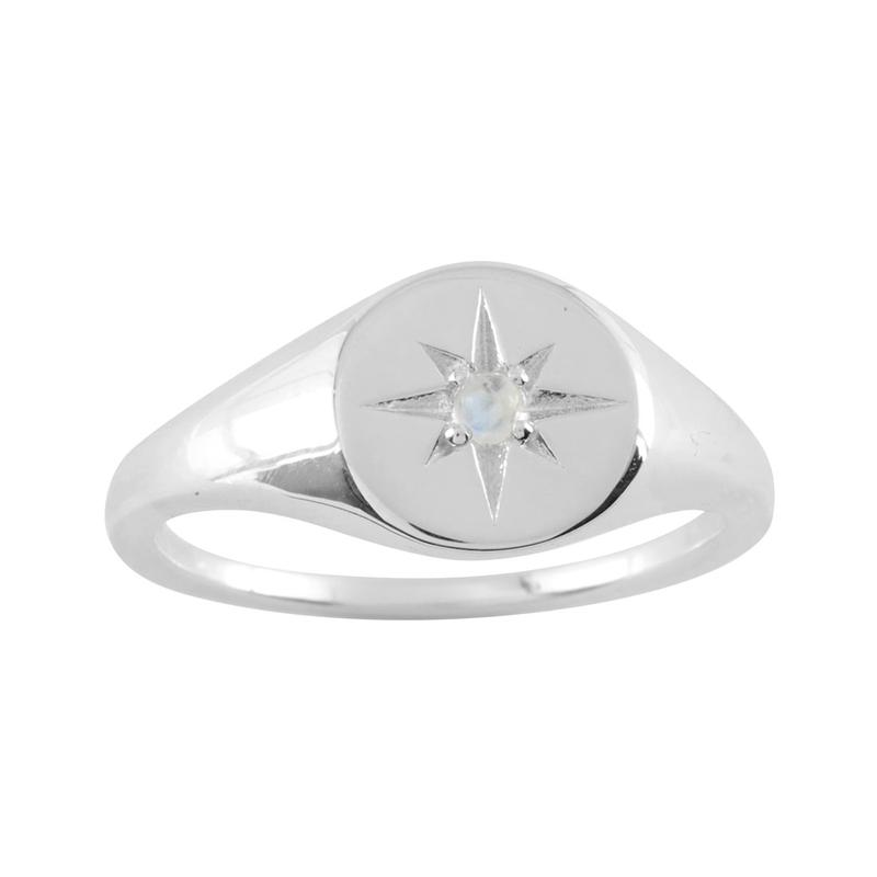 Sterling Silver Enchanted Light Rainbow Moonstone Signet Ring