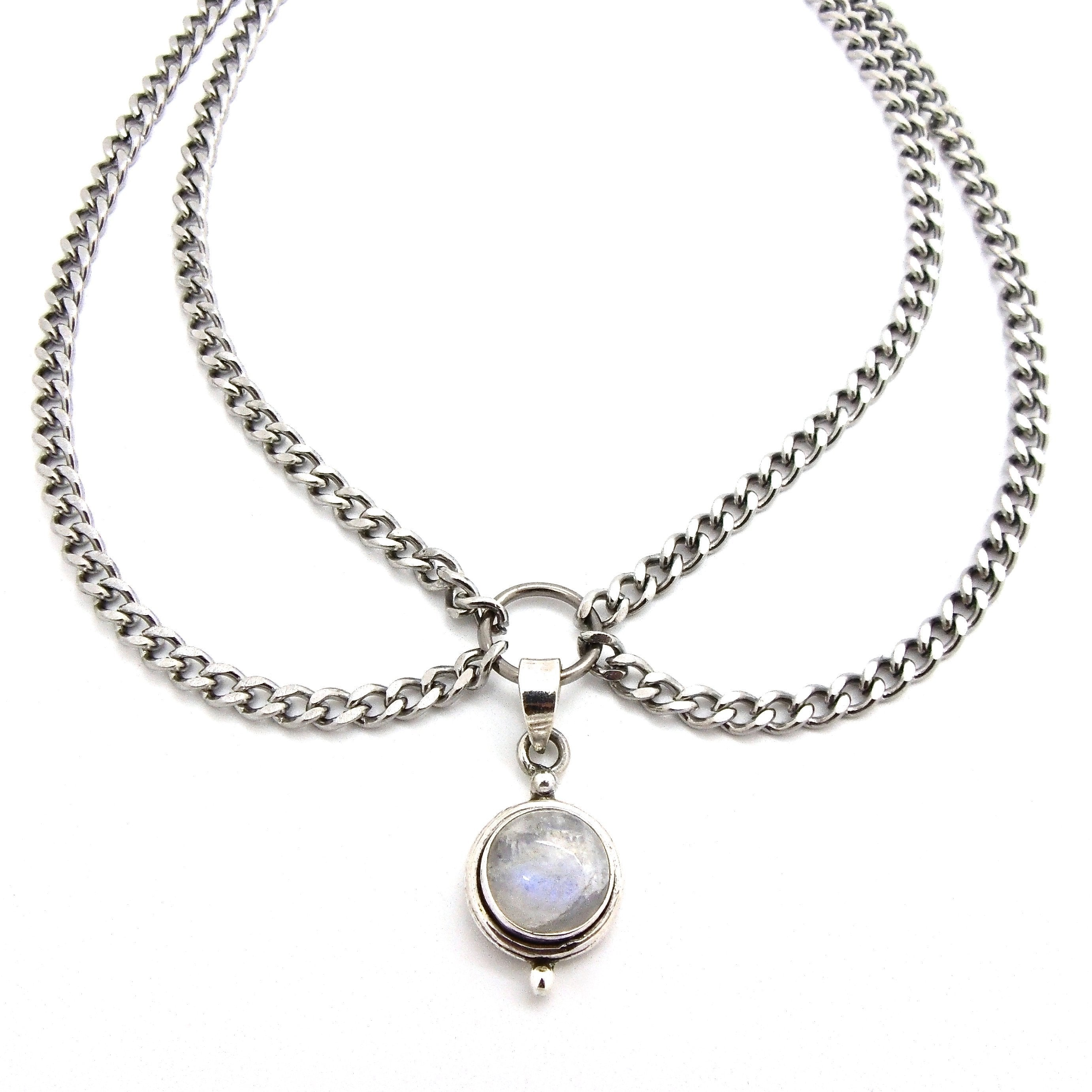 Rainbow Moonstone Double Chain Choker