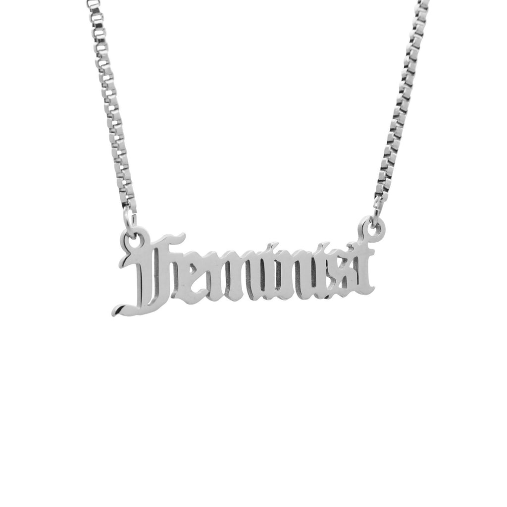 'Feminist' Script Necklace