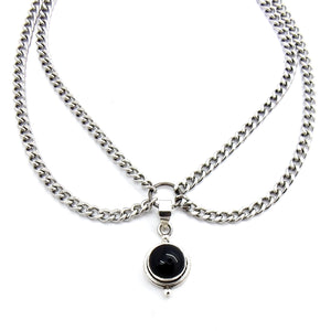 Black Onyx Double Chain Choker