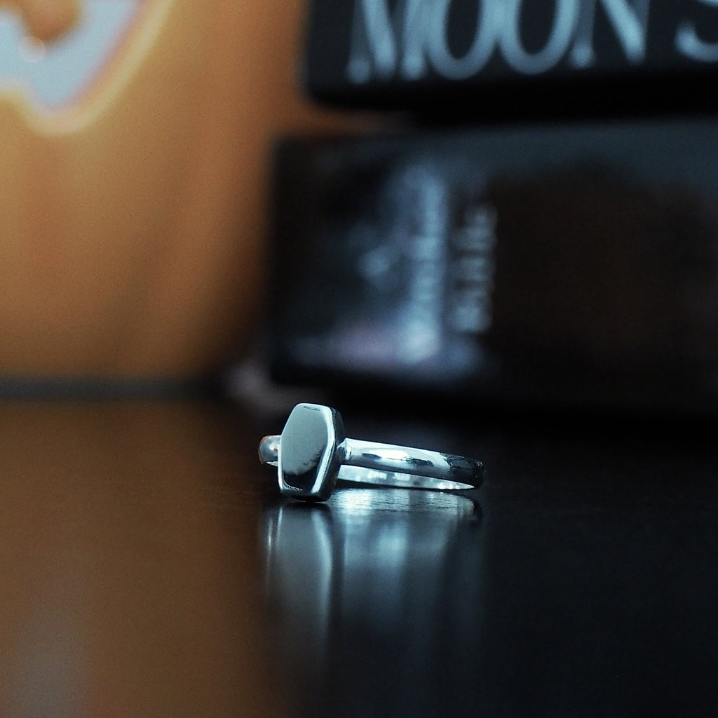 Sterling Silver Dainty Coffin Ring