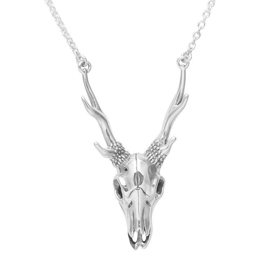 Sterling Silver Deer Skull Necklace