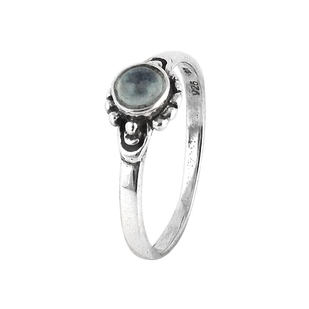 Sterling Silver & Rainbow Moonstone Horizon Ring
