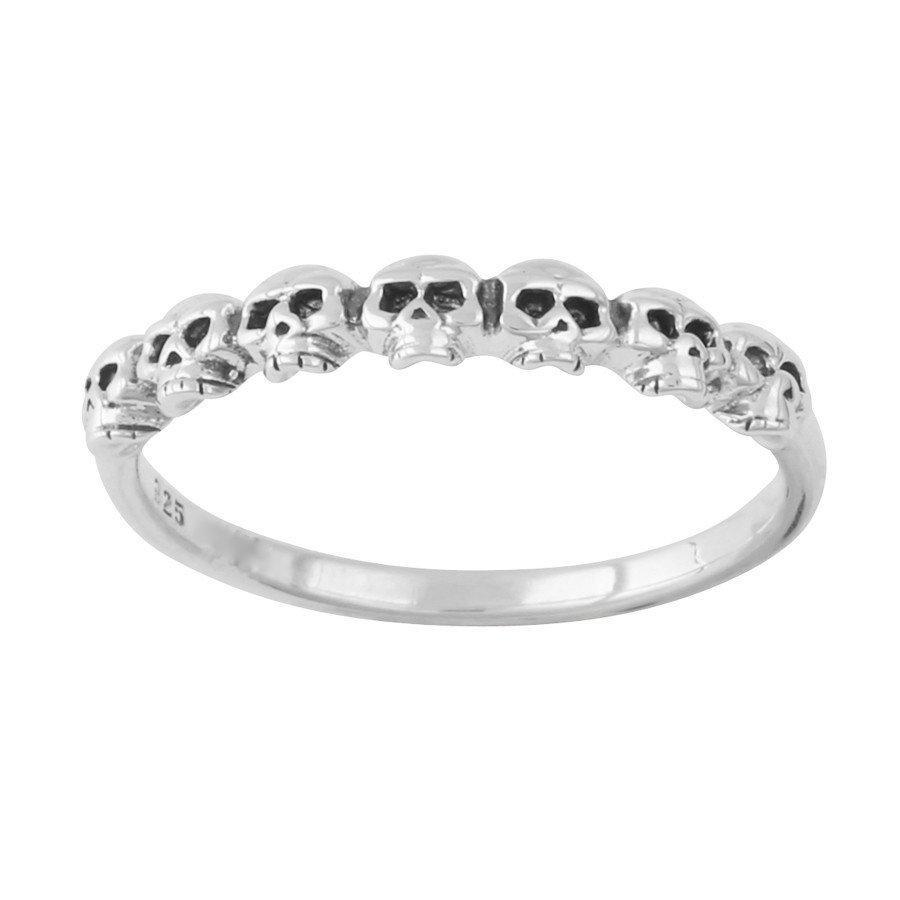 Sterling Silver Tiny Skulls Stacker Ring