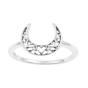 Sterling Silver Mehndi Moon Ring