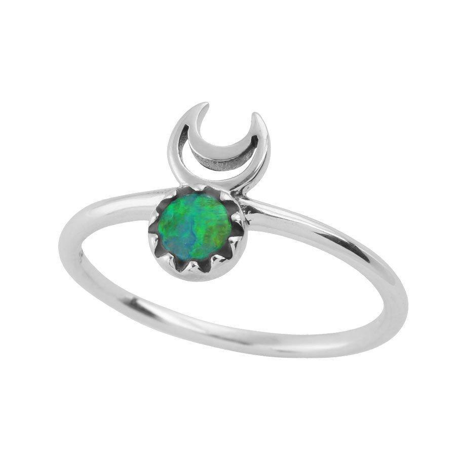 Sterling Silver & Opal Moons Eclipse Ring.