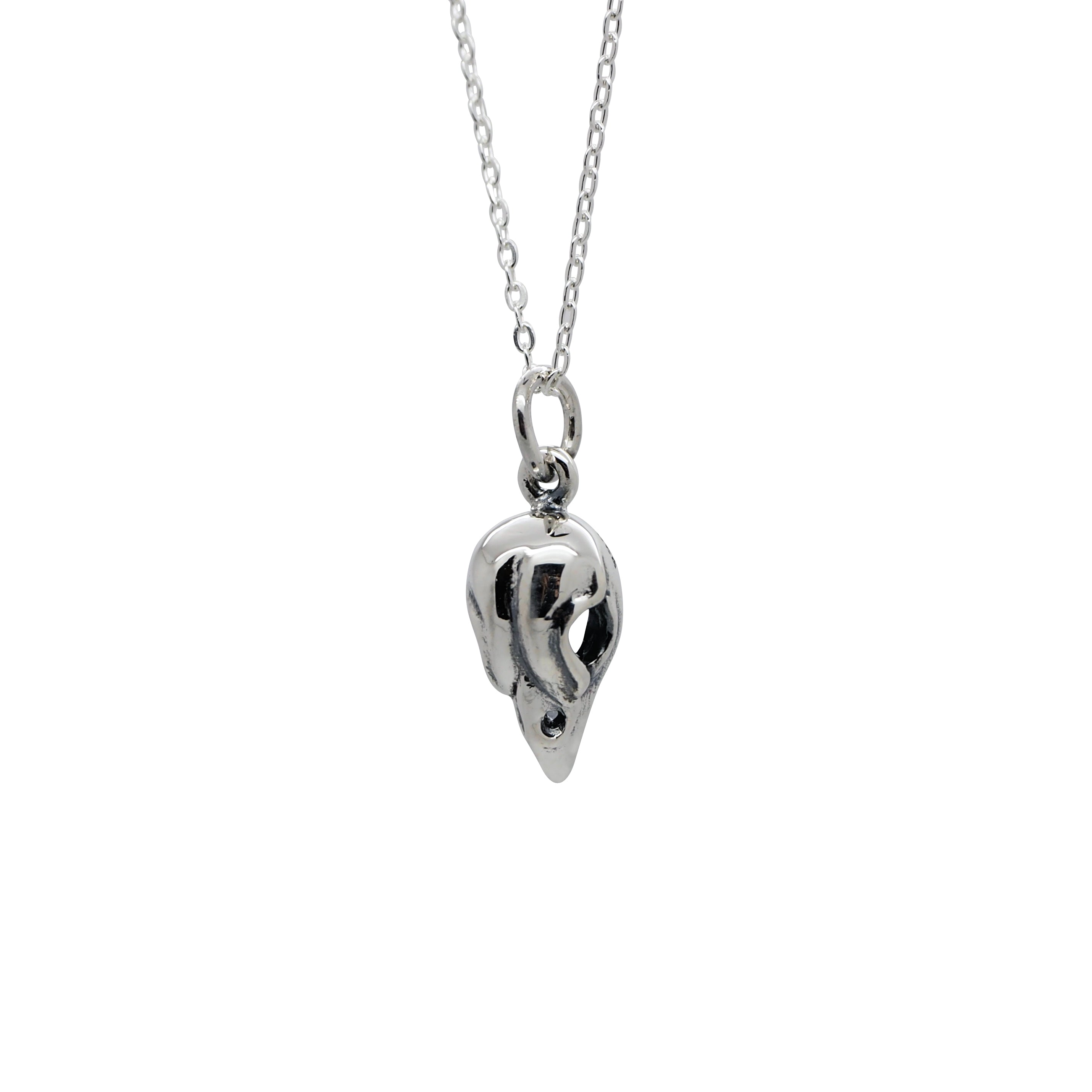 Sterling Silver Mini Bird Skull Necklace