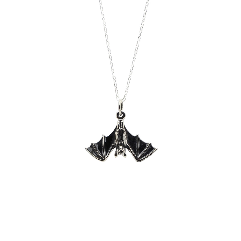 Sterling Silver Hanging Bat Necklace