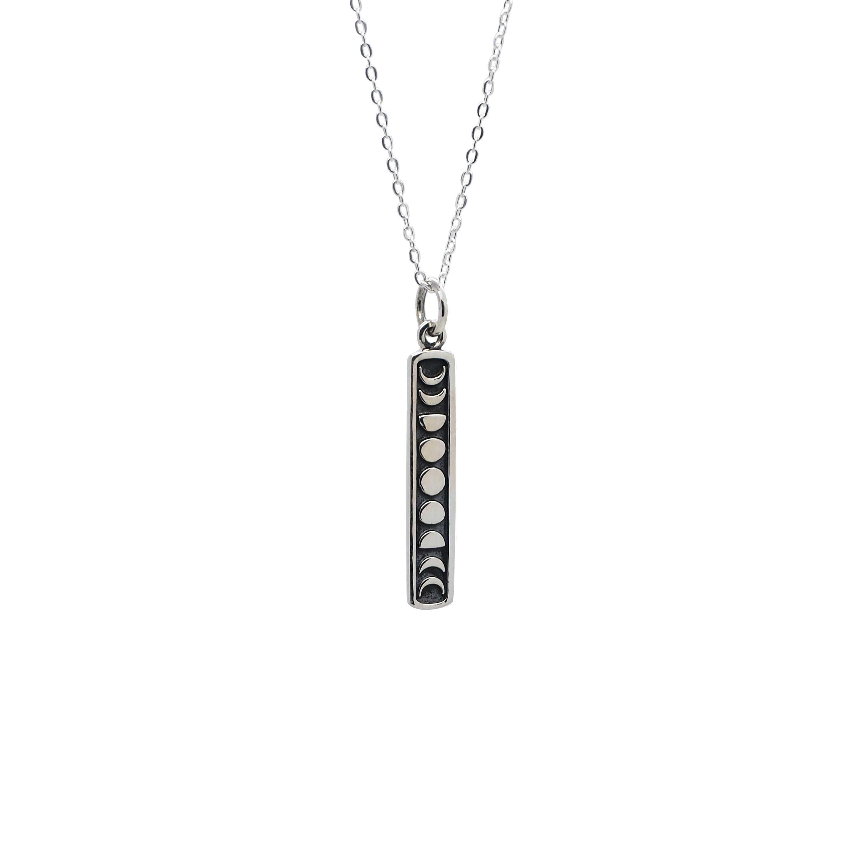 Sterling Silver Moon Phases Bar Necklace