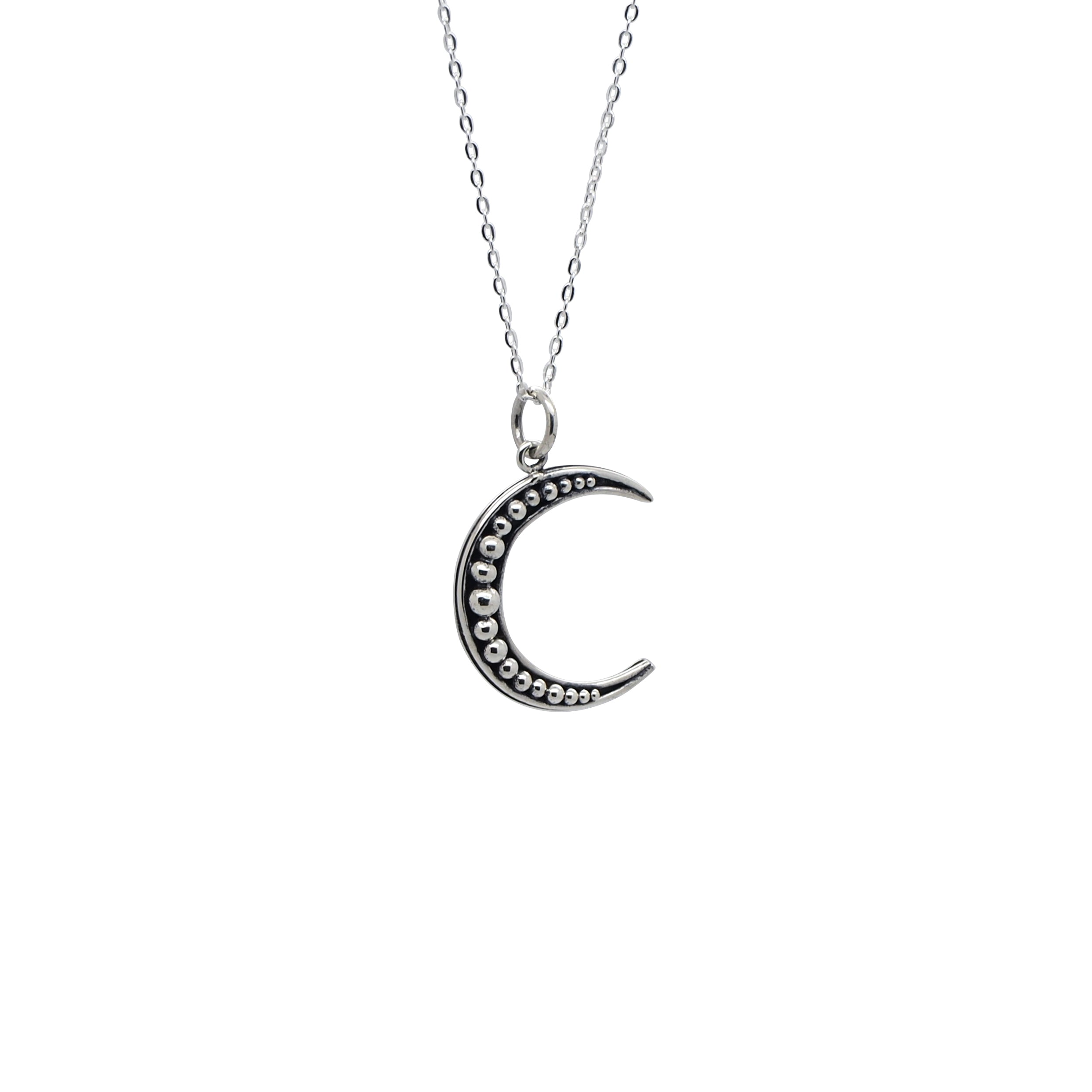 Sterling Silver Beaded Crescent Moon Necklace